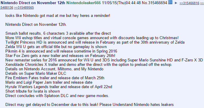 nintendo direct 4chan